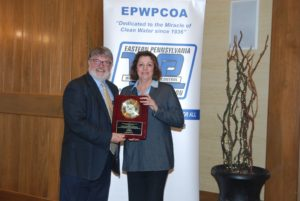 Former LCA compliance officer Pat Mandes is presented with the Robert M. Bolenius – Gordon J. Wiest Clean Streams Award.