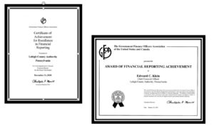 LCA and its CFO were honored with these awards from the GFOA for excellence in financial reporting.