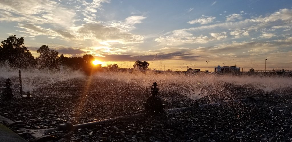 Kline's Island Wastewater Treatment Plant at sunset.