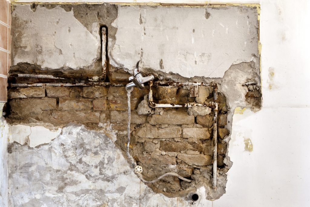A picture of a water leak inside a wall.