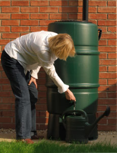 A picture of a rain barrel for a post on making a rain barrel from LCA.