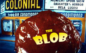 A poster from the horror movie, The Blob, to go with an LCA post on pink slime.